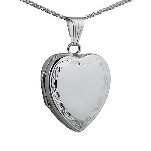 Silver 24x20mm hand engraved scroll edge heart Locket with Curb chain