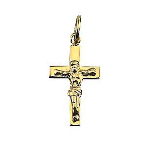 9ct Gold-17x10mm festen Block Kruzifix Kreuz
