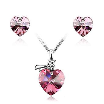 Womens Crystal Stone Love Heart Pendant Necklace And Earrings Jewelry Set
