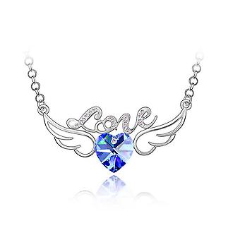 Womens Dark Blue and Silver Love Pendant Necklace with Angel Wings