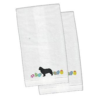 Newfoundland Easter White Embroidered Plush Hand Towel Set of 2