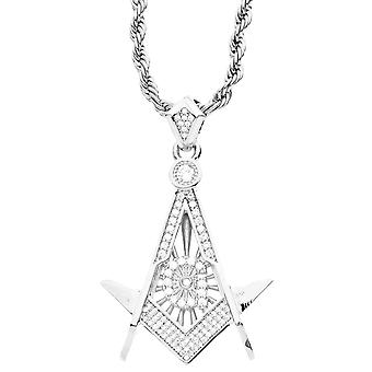 Iced out bling micro pave pendants - Masonic silver