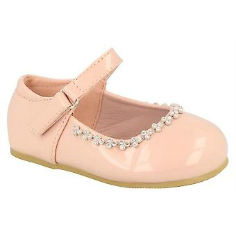 Baby Infant Girls Touch Fastening Diamante Bar Formal Party Dress Shoes