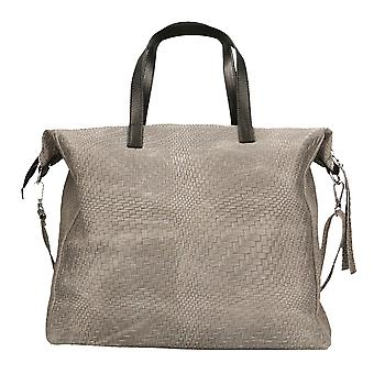 CTM women's shoulder bag with large Print genuine leather Braided Handles Made in Italy 36x36x13 Cm