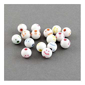 Packet 50+ Mixed Acrylic 8mm Plain Round Beads HA25885