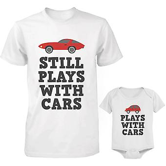 Plays With Cars Dad and Baby Matching Shirt and Bodysuit
