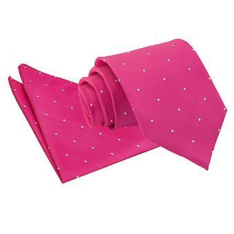 Hot Pink Pin Dot Tie & Pocket Square Set