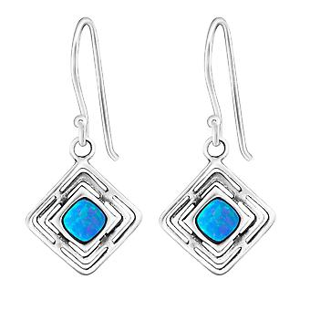 Square - 925 Sterling Silver Opal And Semi Precious Earrings - W23635x