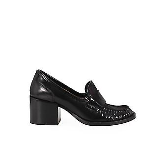 G DI G BLACK LEATHER HEELED MOCCASIN
