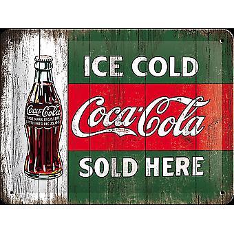 Coca-Cola iskald selges her liten metall Sign (200 Mm X 150 Mm)