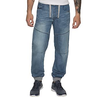 Mens Denim Cuffed Joggers Jeans Light Stonewash | Enzo Designer Menswear