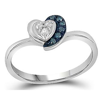 1/10 Carat (ctw) Blue and White Diamond Heart Promise Ring in Sterling Silver