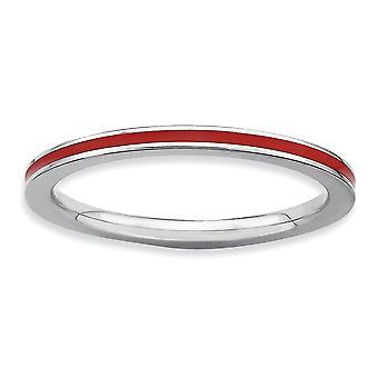 Argent sterling poli rhodié empilable Expressions rouge émaillé 1,5 mm bague - bague taille: 5 à 10
