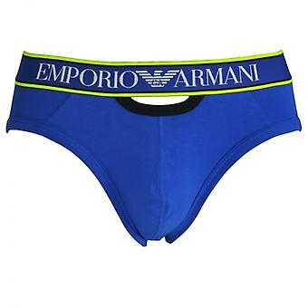 Emporio Armani Magnum Style Experience Push Up Brief, Electric Blue With Black / Yellow Trim, X Large