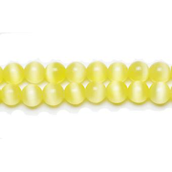 Strand 45+ Yellow/Green Glass Cat's Eye 8mm Plain Round Beads GB9215-3