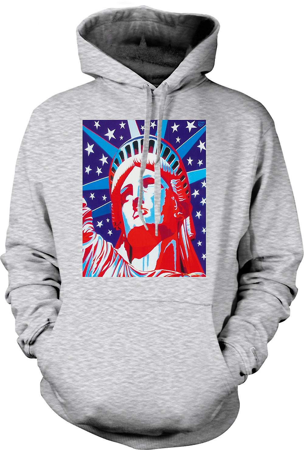 Mens Hoodie - Statue Of Liberty - Pop Art