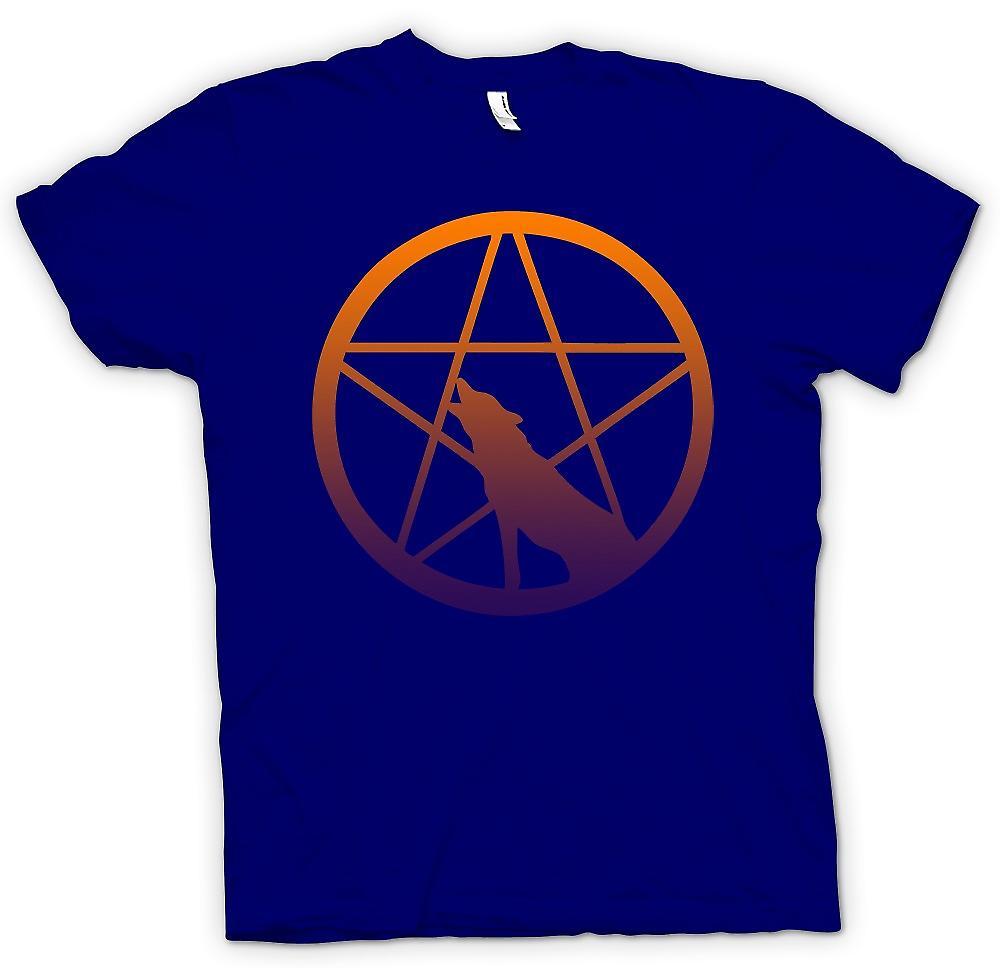 Heren T-shirt-Wolf Howling Pentagram