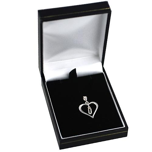 Silver heart Pendant with a hanging Initial U
