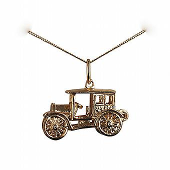 9ct Gold 11x22mm moveable Vintage car Pendant with a curb Chain 16 inches Only Suitable for Children