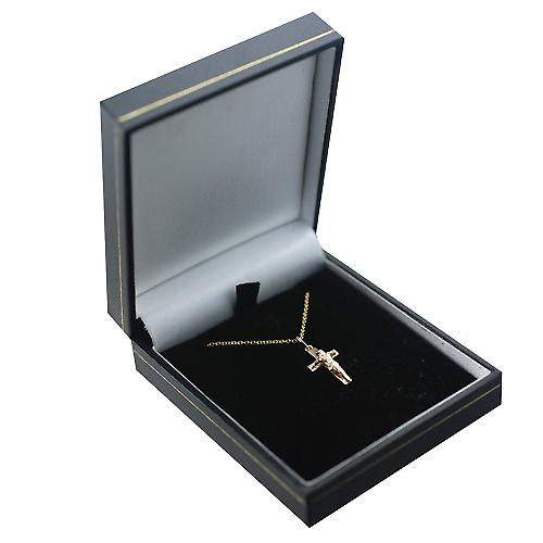 9ct Gold 17x10mm solid block Crucifix Cross with a Cable Link Chain