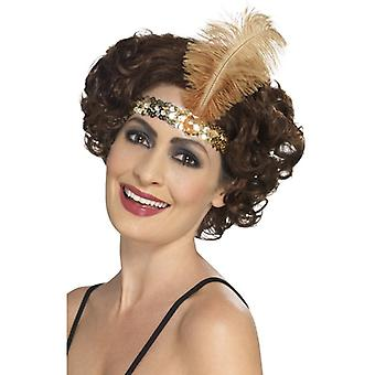 Womens 1920er Jahre Flapper Stirnband Gold Fancy Dress Zubehör