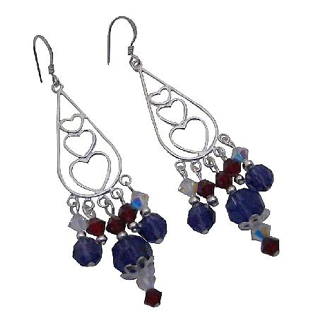 Swarovski Colorful Crystals Romantic Heart Silver Chandelier Earrings
