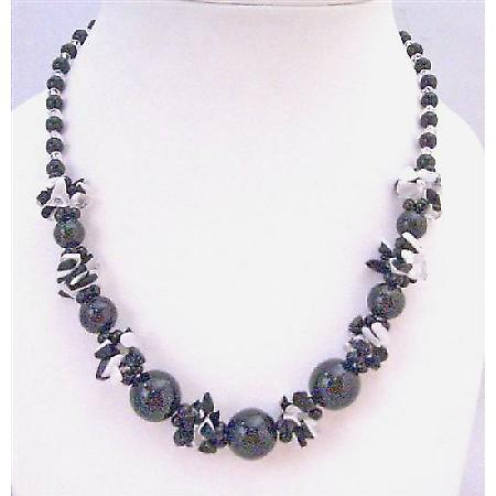 Black Pearl Black White Nugget Chips Clear Glass Beads Necklace Under $10 Inexpensive Jewelry Under $10 Neckalce