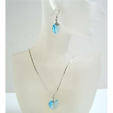 Aquamarine Swarovski Sexy Heart Pendant & Earrings Necklace Set