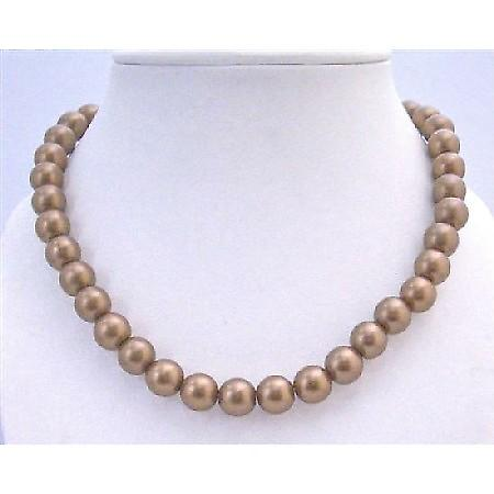Brown Pearl 12mm Choker Stylish Bridesmaid Stretchable Necklace