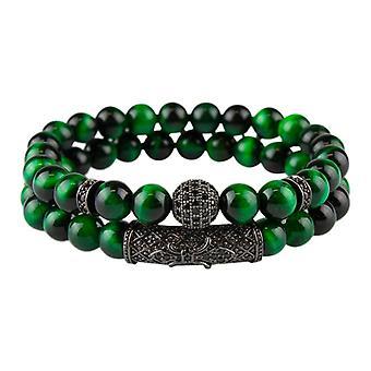 Koraliki Armbandsset marmurkowy i dżetów, zielony