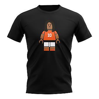 Ruud Gullit Holland Brick Footballer T-Shirt (Black)