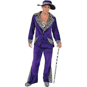 Orion Costumes Mens 70s Purple Velvet Pimp Suit Gangster Hat Novelty Fancy Dress