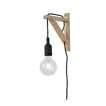 Lucide Fix Wall Modern Triangle Wood Black And Light Wood Wall Light