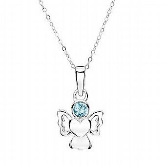 Jo For Girls Sterling Silver March Simulated Birthstone Angel Pendant Necklace