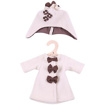 Bigjigs Toys Beige Rag Doll Fleece Mantel & Hut (38cm) Puppe Kleidung Outfit