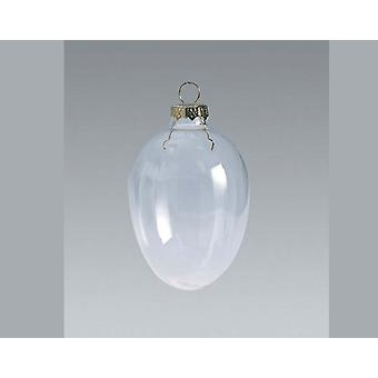 10 Fillable 50mm Clear Glass Egg Shaped Christmas Bauble Ornaments