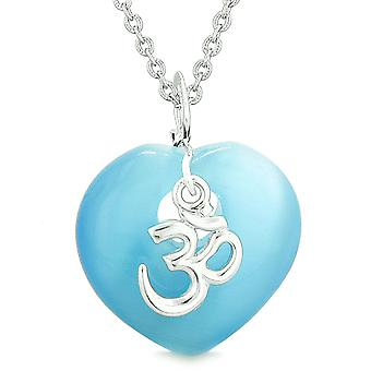 Ancient Tibetan OM Inspirational Amulet Magic Heart Sky Blue Simulated Cats Eye Pendant 18 inch Necklace