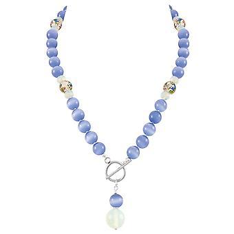 Ewige Sammlung serene Kornblume blau Katzen Auge Perlen Silber Toggle Statement Halskette