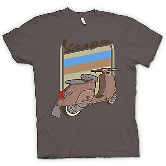 Hombres camiseta-Vespa Scooter Brown Vespa - Arte Pop