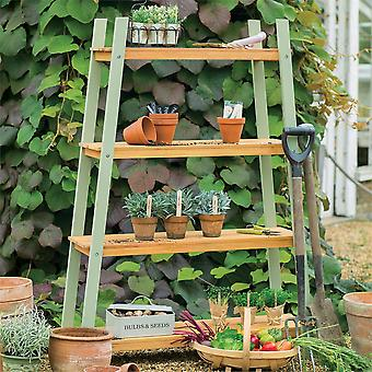 Florenity Verdi Eucalyptus Wooden Green Plant Shelves - 4 Tiered Shelves