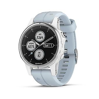 Garmin Fenix 5S Plus Compact Multisport Watch com música, mapas e Garmin Pay, branco com Seafoam Band