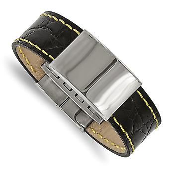 23.34mm Stainless Steel Polished Black Leather Yellow Stitch ID Bracelet - 8.5 Inch