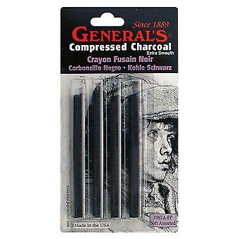 Compressed Charcoal Sticks 4 Pkg Black  Soft Assorted 957Abp