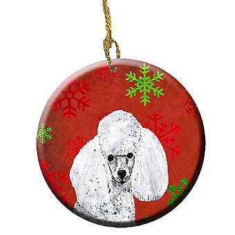 White Toy Poodle Red Snowflakes Holiday Ceramic Ornament SC9749CO1