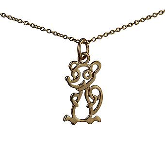 9ct Gold 18x11mm pierced Mouse Pendant with a cable Chain 16 inches Only Suitable for Children