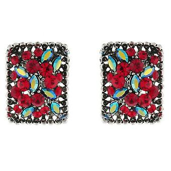 Clip On Earrings Store Siam Red and AB Swarovski Crystal Rectangle Treasure Clip