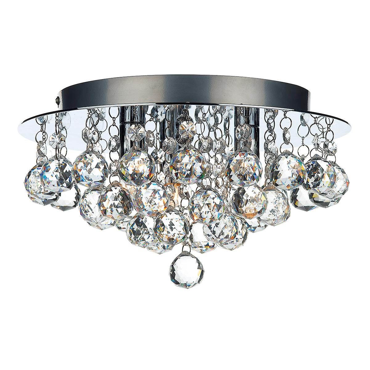 Dar PLU5250 Pluto 3 Light Flush Polished Chrome Ceiling Light With Crystal Glass