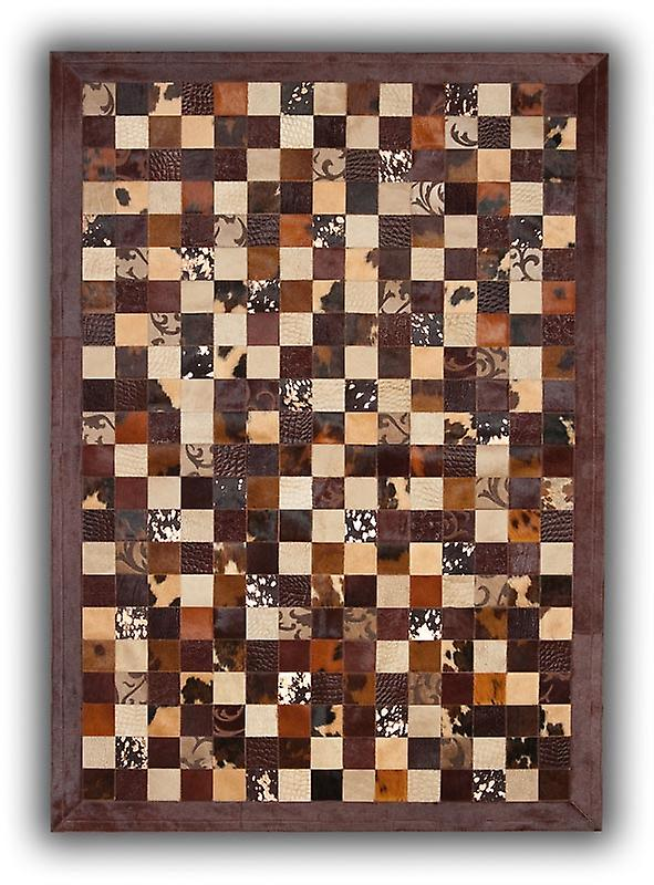 Teppiche - Cubed Patchwork Kuhfell - Braun Grabados braun Grenze