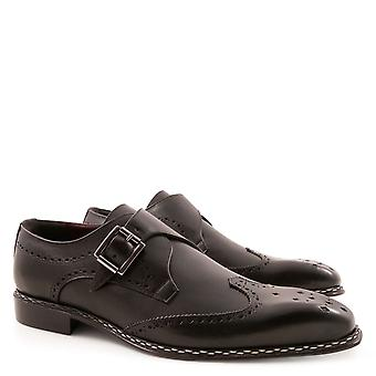 Handmade men's black leather monk strap shoes