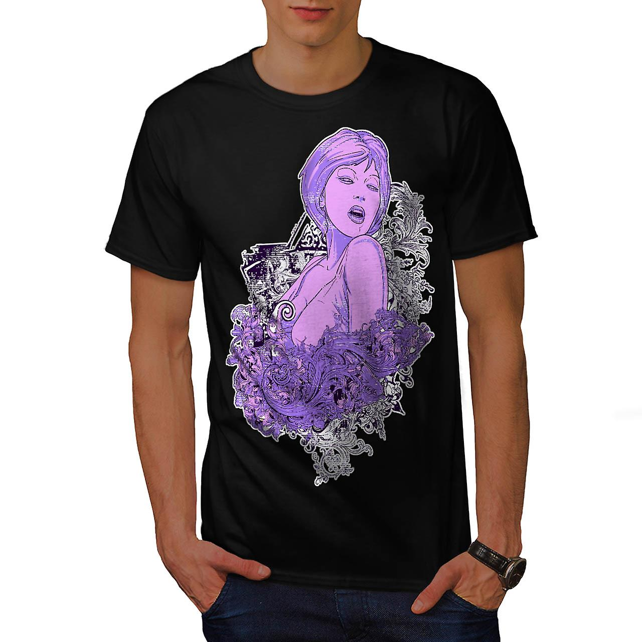 Model Poser Lady Hot Hair Style Men Black T-shirt | Wellcoda